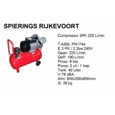 Compressor 3pk 220L/min 230v