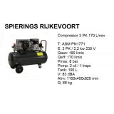Compressor 3pk 170 L/min 230v