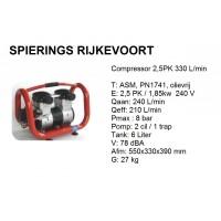 Compressor 2,5pk 330L/min 230v Olievrij