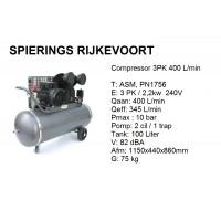 Compressor 3pk 400L/min 230V