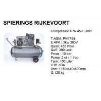 Compressor 4pk 450L/min 380v