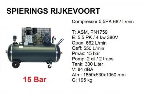 Compressor 5,5pk 650L/min 380V 15 Bar Industrie