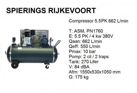 Compressor 5,5pk 650L/min 380V Industrie