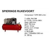 Compressor 7,5pk 900L/min 380v ster driehoek