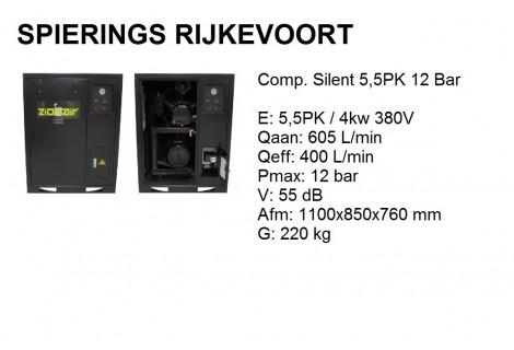 Compressor 5,5pk 12bar silent