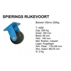 Bokwiel 100mm 200kg rubber