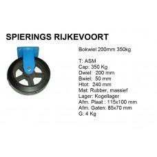 Bokwiel 200mm 350kg rubber