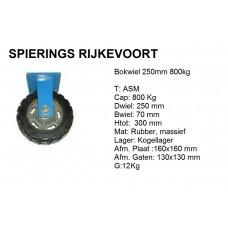 Bokwiel 250mm 800kg rubber