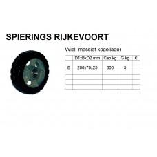 Wiel 200mm 600kg rubber