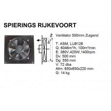 Ventilator axiaal 500mm 380v Zuigend