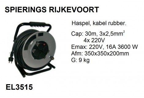 Kabelhaspel 30m 230v 3x2,5mm^2