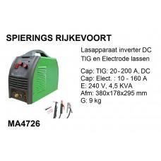 Lasapparaat TIG / Elect 200A 230v inverter