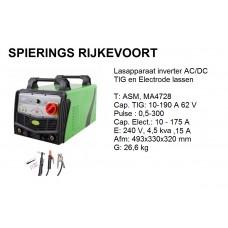 Lasapparaat TIG / Elect 200A 230v inverter AC/DC