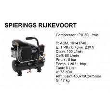 Compressor 1pk 80L/min 230v Compact