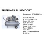 Compressor 3pk 400L/min 230V Shamal Industrie inc Verzenden