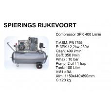 Compressor 3pk 400L/min 230v Industrie