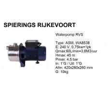 pomp water 1pk 240v 60L/min RVS