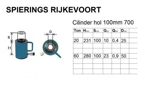 cilinder 30ton 100mm hol