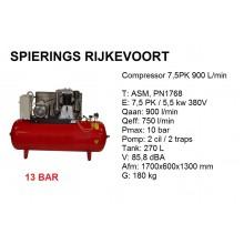 Compressor 7,5pk 900L/min 380v ster driehoek 13 bar