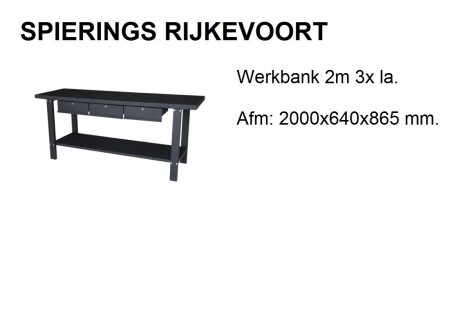 Werkbank 2m zwart